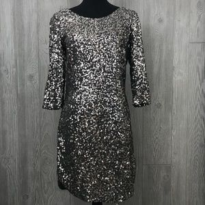 Lauren Conrad Black long sleeve sequin dress